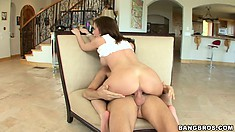 Naughty brunette, Hillary Scott, loves it when a cock comes a callin'