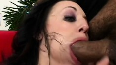 Cum addict Deja Dare gulps down a double dose of sticky man milk