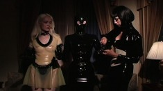 Submissive sex slaves obey their dominant mistress' commands
