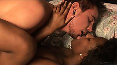 Arousing scene of love between white guy and chocolate babe brings a lot of nice things