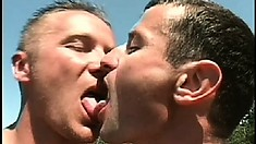 A couple of hot studs walk out in the middle of the field for a secret fuck