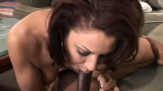Horny housewife has always wanted a taste of king sized choco-cock