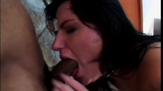 Katrina Kraven enjoys every moment of a hardcore interracial threesome