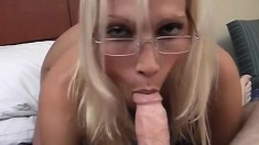 Big breasted blonde milf delivers a blowjob and enjoys a deep fucking