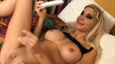 Busty blonde French babe rubs her clit in steamy solo session
