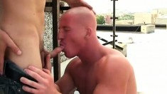 Muscular dudes cum together after some passionate anal loving