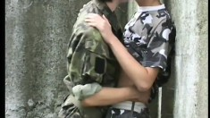 Deep in the woods, these horny soldier boys gets naked and naughty